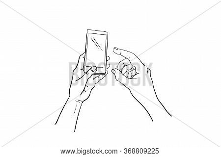 Hands Holding Gadget, Finger Touchs Screen For Interactive Digital Message. Empty Pda Device In Arm-