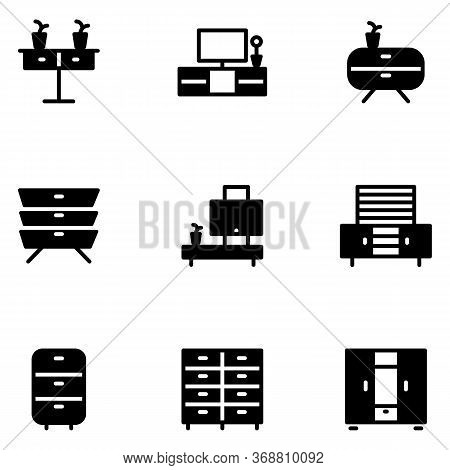 Furniture And Decoration Icon Set Include Furniture,cabinet,wardrobe