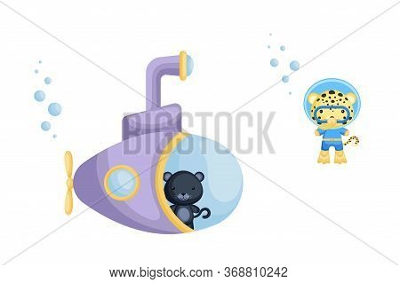 Cute Cartoon Panthelooks Out Of Submarine Window And Cute Leopard In Diving Suit Swim Underwater. De
