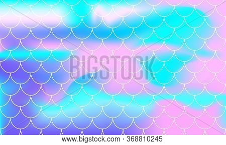 Rainbow Background. Mermaid Scales. Kawaii Colorful Backdrop. Holographic Print. Bright Mermaid Patt