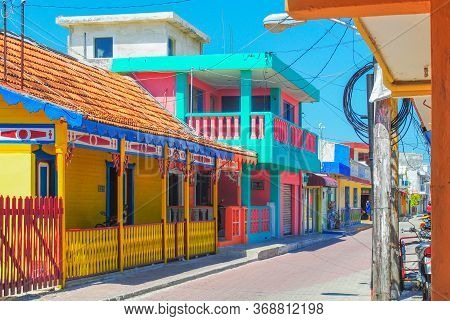 Isla Mujeres Colorful City Architecture. An Island In The Caribbean Sea. Tourism Attractions Around