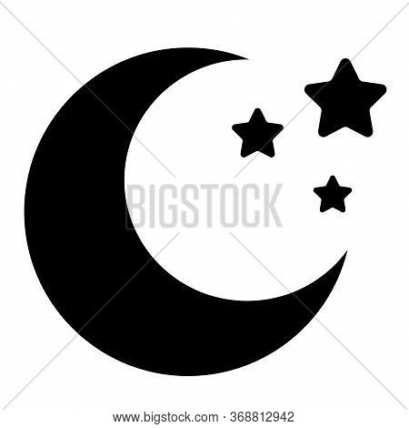 Moon Icon On White Background. Flat Style. Black Crescent Moon Icon For Your Web Site Design, Logo,