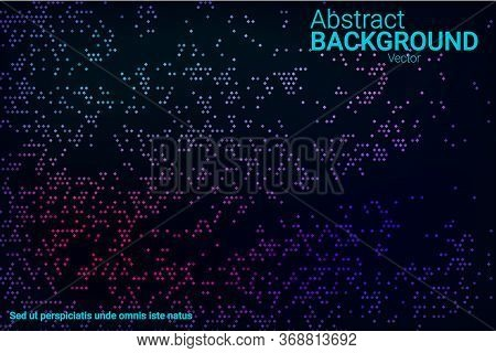 Trendy Abstract Flyer Design With Blue, Purple, Green, Pink Halftone Neon Texture On Dark Background