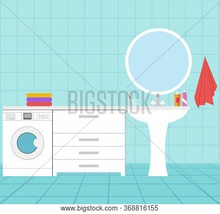 The Interior Of The Bathroom. Bathroom With A Washing Machine, Mirror, Washbasin And Furniture. Vect