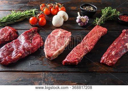 A Set Of Different Types Of Raw Beef Steaks Alternative Cut Flap Flank Steak, Machete Steak Or Skirt