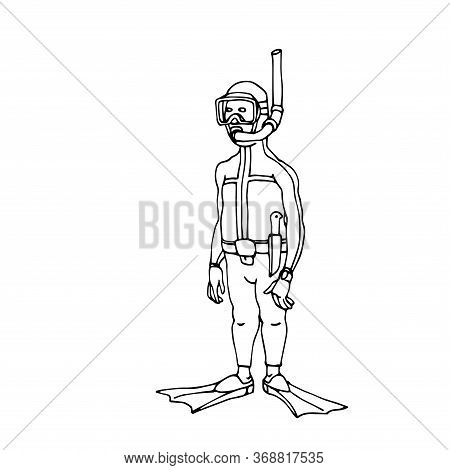 Caricature, Standing Funny Diver Saboteur In Diving Suit With Mask & Fins, Vector Illustration With