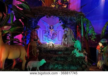 OLD GOA, INDIA - FEBRUARY 18, 2020: Nativity Scene in the Basilica Bom Jesus, Old Goa, Velha Goa, Goa, India