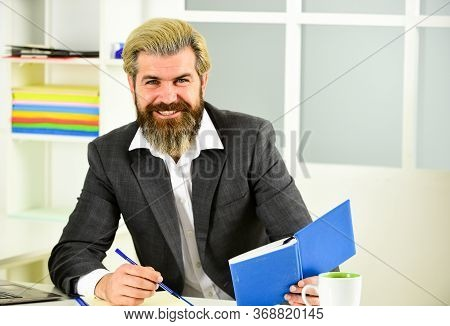 Business Solutions. Risky Business. Man Bearded Boss Sit With Laptop. Manager Solving Business Probl