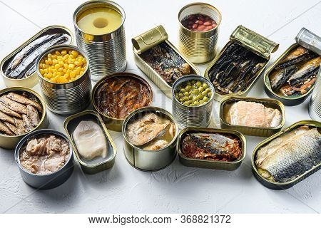 Assortment Of Canned Preserves Food In Cans, Conserve Saury, Mackerel, Sprats, Sardines, Pilchard, S