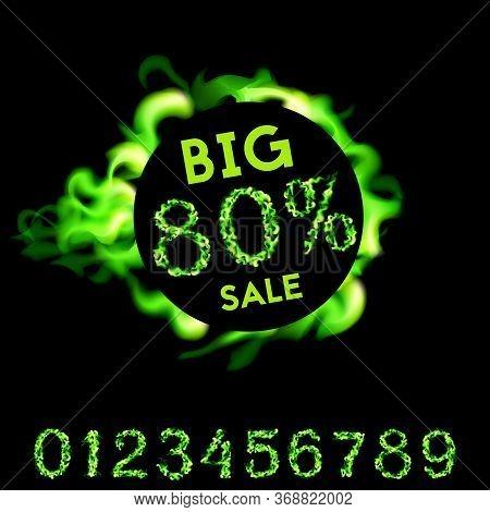 80 Percent Big Sale. Green Fire Design On Black Background. Vector Illustration