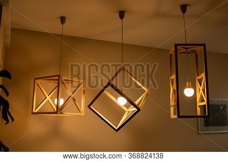 Modern Ceiling Lights Bulbs Lamp Made Of Wooden Frame Geometric Shape Interior And Loft Style Decora