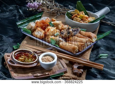 Many Vegetarian Food : Fried Taro Rolls (taro Guangjian) And Deep Fried Spring Rolls, Fried Tofu, Fr