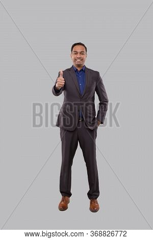 Businessman Showing Thump Up Isolated. Indian Man Standing Full Lenght