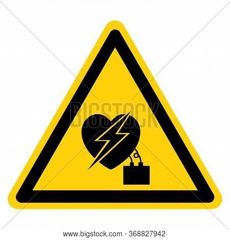 Warning Electrical Interferance To Pacemaker Symbol Sign, Vector Illustration, Isolate On White Back
