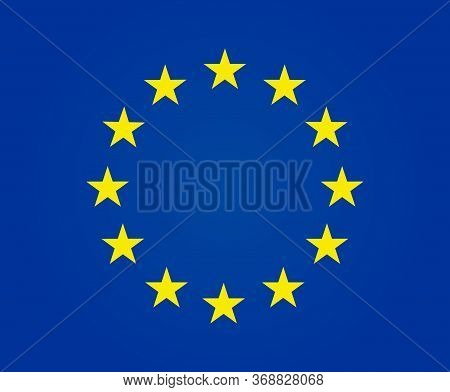 European Flag With Yellow Stars On Blue Background. Euro Logo. Europe Emblem. Circle Ring Of Golden