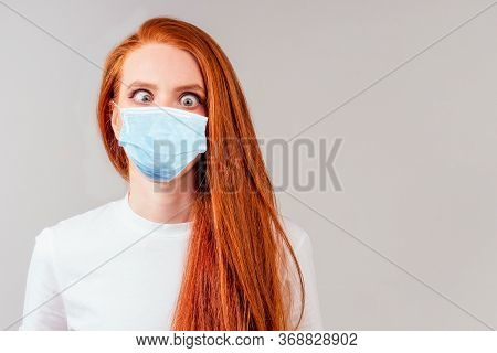 Redhair Ginger Woman In Green Cotton Silk Dress In Pink Studio Amazed Feeling