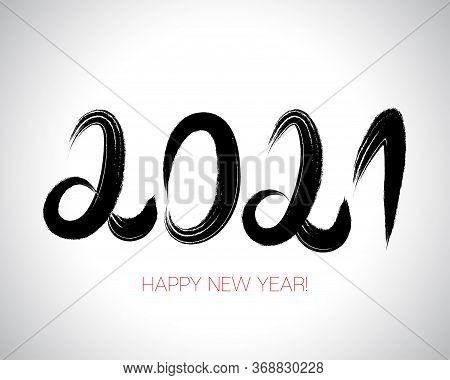 2021 Brushstroke Paint Banner. Stylish Happy New Year Typography. Isolated Brush Shape 2021. Painted