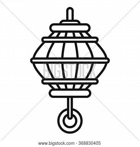 Oriental Lantern Icon. Outline Oriental Lantern Vector Icon For Web Design Isolated On White Backgro