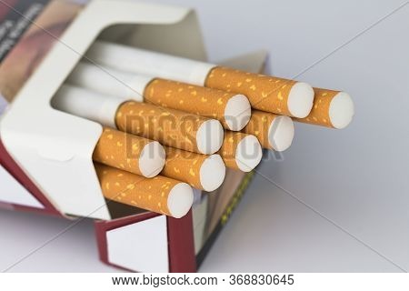 Cigarettes Packed In Red Paper Envelopes The Cigarette End Or Cigarette End Is Brown And The Tip Is