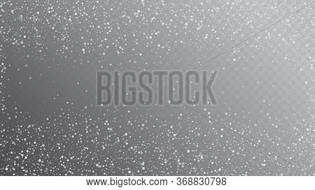 Falling Snow On Gray, Vector. Winter Holidays Storm Background. Advertising Frame, New Year, Christm