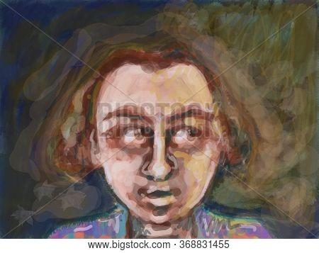 Human Drawing Face  With Long Brawn Hair