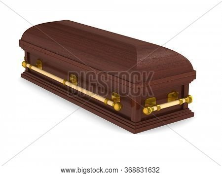 coffin on white background. Isolated 3D illustration