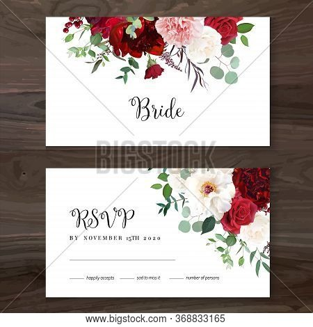 Classic Luxurious Red Roses, Pink Carnation, White Peony, Berry, Astilbe, Eucalyptus Vector Design W