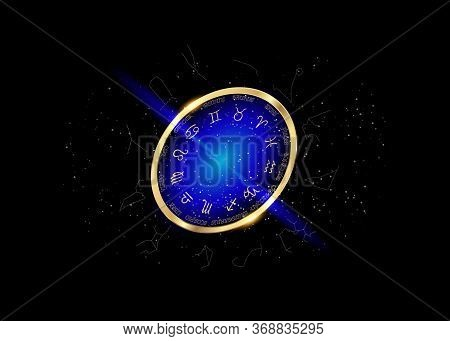 Wheel Of The Zodiac And Constellations, Set Collection Of 12 Zodiac Signs, Aries, Taurus, Leo, Gemin