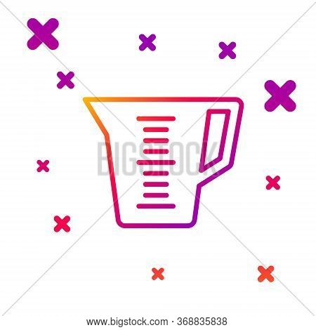 Color Line Measuring Cup To Measure Dry And Liquid Food Icon Isolated On White Background. Plastic G