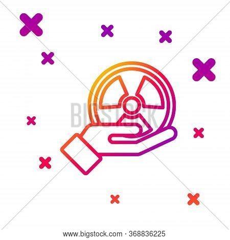 Color Line Radioactive In Hand Icon Isolated On White Background. Radioactive Toxic Symbol. Radiatio