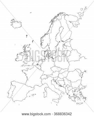 Map Of Europe, Black And White Detailed Outlines Of Countries.
