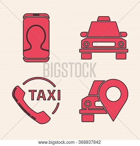 Set Map Pointer With Taxi, Taxi Call Telephone Service, Taxi Car And Taxi Call Telephone Service Ico