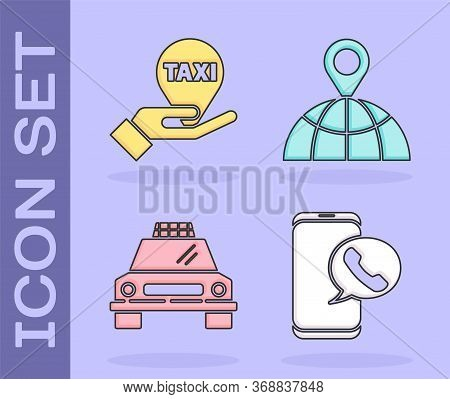 Set Taxi Call Telephone Service, Hand On Map Pointer With Taxi, Taxi Car And Location On The Globe I
