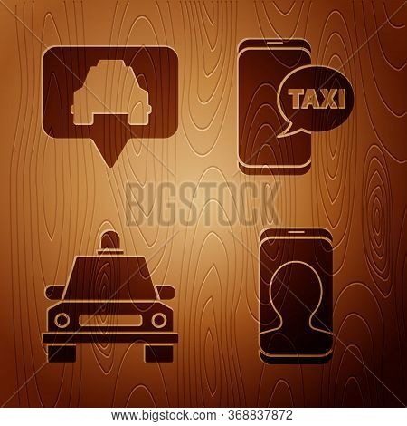 Set Taxi Call Telephone Service, Map Pointer With Taxi, Taxi Car And Taxi Call Telephone Service On