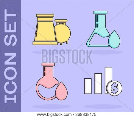 Set Pie Chart Infographic And Dollar, Oil And Gas Industrial Factory Building, Oil Petrol Test Tube