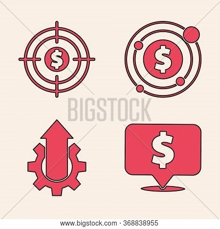 Set Speech Bubble With Dollar, Target With Dollar, Target With Dollar Symbol And Arrow Growth Gear B