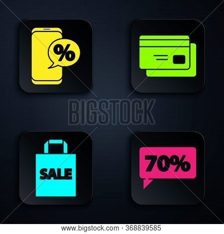 Set Seventy Discount Percent Tag, Percent Discount And Phone, Shoping Bag With Sale And Credit Card.