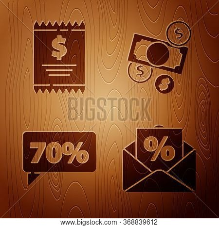 Set Envelope With An Interest Discount, Paper Check And Financial Check, Seventy Discount Percent Ta