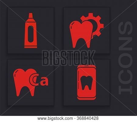 Set Online Dental Care, Tube Of Toothpaste, Tooth Treatment Procedure And Calcium For Tooth Icon. Ve