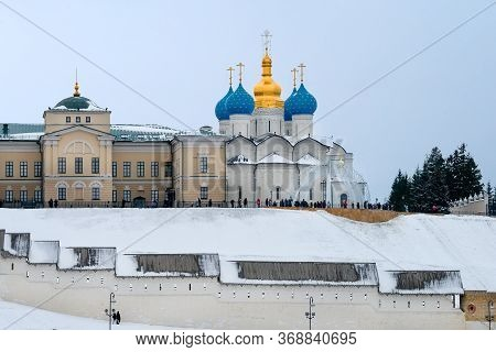Kazan, Russia - January 5, 2020:annunciation Cathedral Of The Kazan Kremlin  On A Cloudy Winter Even