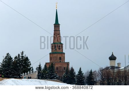 Azan, Russia - January 5 2020:  Suyumbike Tower - Sentinel (watch) Tower In The Kazan Kremlin . Syuy