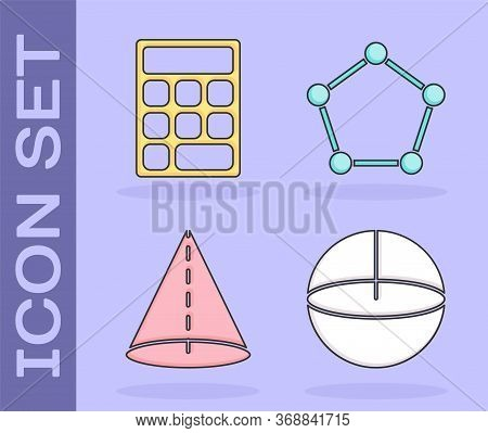 Set Geometric Figure Sphere, Calculator, Geometric Figure Cone And Geometric Figure Pentagonal Prism