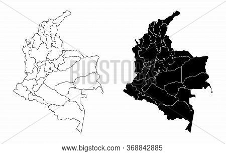 The Black And White Maps Of The Colombia Regions