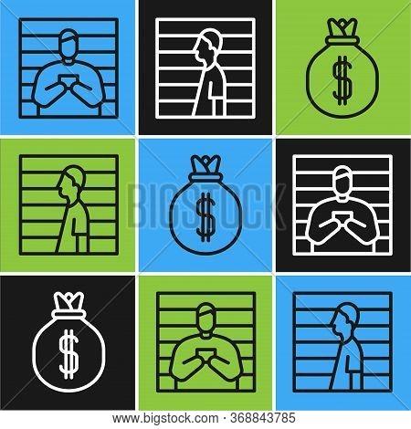 Set Line Suspect Criminal, Money Bag And Suspect Criminal Icon. Vector.