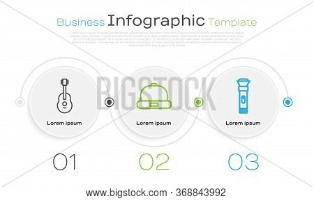 Set Line Guitar, Beanie Hat And Flashlight. Business Infographic Template. Vector.