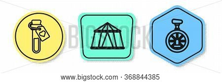 Set Line Bottle With Love Potion, Circus Tent And Unicycle Or One Wheel Bicycle. Colored Shapes. Vec