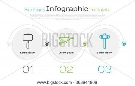 Set Line Sledgehammer, Wheelbarrow And Sledgehammer. Business Infographic Template. Vector.