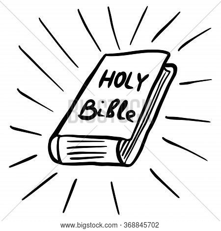 Bible Book. Hand Drawn Vector Illustration With Bible Book