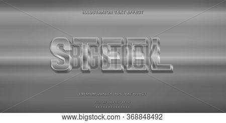 Editable Text Effect - Steel Illustrator Text Style