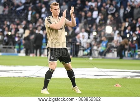London, England - April 30, 2019: Matthijs De Ligt Of Ajax Pictured Prior To He First Leg Of The 201